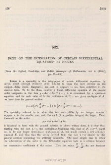 Note on the integration of certain differential equations by series