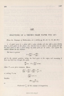 Solutions of a Smith's Prize paper for 1871
