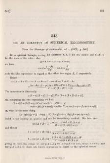 On an identity in spherical trigonometry