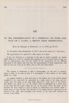 On the representation of a spherical or other surface on a plane: a Smith's Prize dissertation