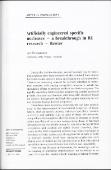 Artificially engineered specific nucleases - a breakthrough in RE research - Rewiev