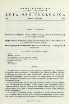 Zmienność morfologiczna czaszki wróbla domowego, Passer domesticus (L.) w rozwoju postnatalnym