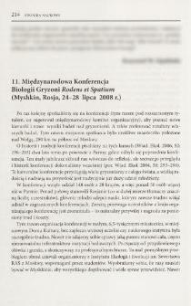 11 Międzynarodowa Konferencja Biologii Gryzoni Rodens et Spatium (Myshkin, Rosja, 24-28 lipca 2008 r.)
