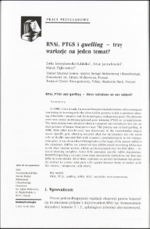 RNAi, PTGS and quelling - three variations on one subject?