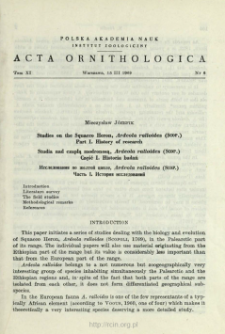 Studies on the squacco heron, Ardeola ralloides (Scop.). 1. History of research