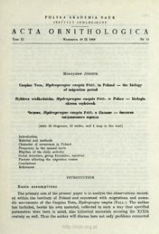 Caspian tern, Hydroprogne caspia Pall. in Poland - the biology of migration period
