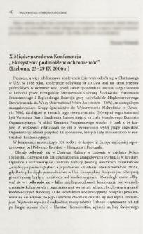 """X Międzynarodowa Konferencja """"Ekosystemy podmokłe w ochronie wód"""" (Lizbona, 23-29 IX 2006 r.)"""