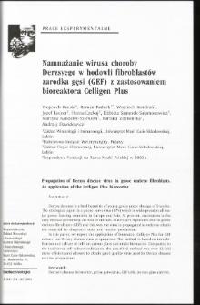 Propagation of Derzsy disease virus in goose embryo fibroblasts. An application of the Celligen Plus bioreactor