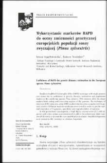 Wykorzystanie markerów RAPD do oceny zmienności genetycznej europejskich populacji sosny zwyczajnej (Pinus sylvestris)