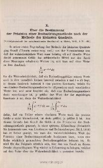 Über die Bestimmung der Präzision einer Beobachtungsmethode nach der Methode der kleinsten Quadrate