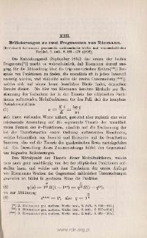 Erläuterungen zu zwei Fragmenten von Riemann