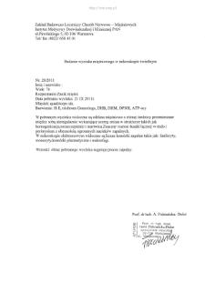 Kartoteka przypadków klinicznych chorób nerwowo-mięśniowych (2011) - opis nr 28/11