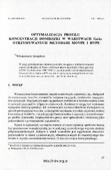 Optymalizacja profilu koncentracji domieszki w warstwach GaAs otrzymywanych metodami MOVPE i HVPE