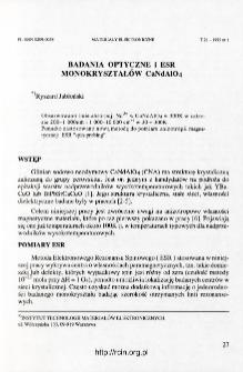 Badania optyczne i ESR monokryształów CaNdAlO4