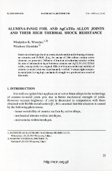 Alumina-FeNi42 foil and AgCuTiIn alloy joints and their high thermal shock resistance