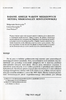 Badanie adhezji warstw miedziowych metodą mikroanalizy rentgenowskiej
