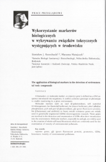 The application of biological markers in the detection of environmental toxic compounds