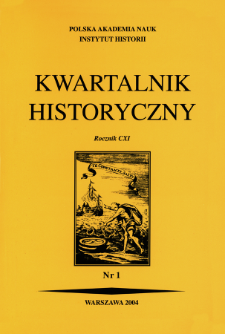 Kwartalnik Historyczny R. 111 nr 1 (2004), Title pages, Contents