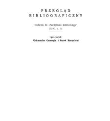 """Przegląd Bibliograficzny, Dodatek do """"Pamiętnika Literackiego"""" (2020, z. 2)"""