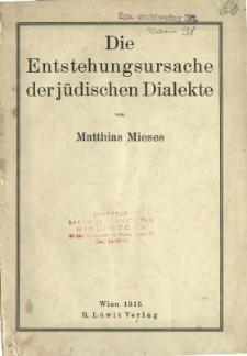 Die Entstehungsursache derjüdischen Dialekte