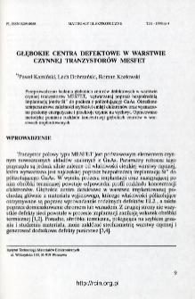 Głębokie centra defektowe w warstwie czynnej tranzystorów MESFET