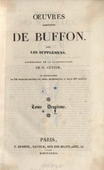 Oeuvres completes de Buffon avec les supplémens, augmentées de la classification de G. Cuvier. Tome II