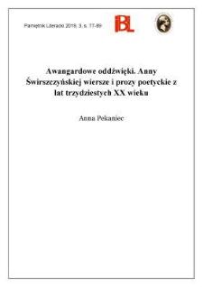 Awangardowe oddźwięki. Anny Świrszczyńskiej wiersze i prozy poetyckie z lat trzydziestych XX wieku