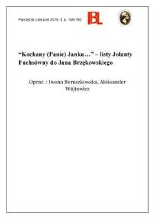 """""""Kochany (Panie) Janku..."""" – listy Jolanty Fuchsówny do Jana Brzękowskiego"""