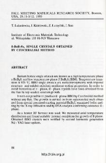 B-BaB2O4 single crystals obtained by Czochralski method