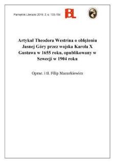 Artykuł Theodora Westrina o oblężeniu Jasnej Góry przez wojska Karola X Gustawa w 1655 roku, opublikowany w Szwecji w 1904 roku