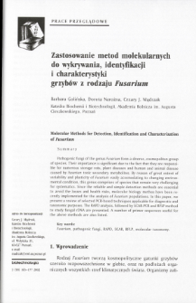 Molecular Methods for Detection, Identification and Characterization of Fusarium