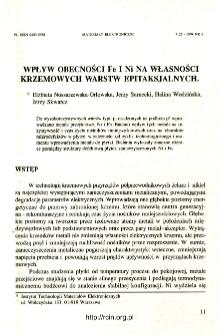 Wpływ obecności Fe i Ni na własności krzemowych warstw epitaksjalnych