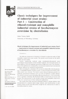 Classic techniques for improvement of industrial yeast strains: Part I - Construction ofethanol-resistant and osmophilic industrial strains of Saccharomyces cerevisiae hy electrofusion