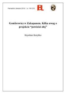 """Gombrowicz w Zakopanem. Kilka uwag o projekcie """"powieści złej"""""""