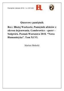 """Queerowy pamiętnik. Rec.: Błażej Warkocki, Pamiętnik afektów z okresu dojrzewania. Gombrowicz – queer – Sedgwick. Poznań–Warszawa 2018. """"Nowa Humanistyka"""". Tom XLVI"""