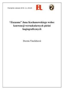 """""""Zuzanna"""" Jana Kochanowskiego wobec konwencji wernakularnych pieśni hagiograficznych"""