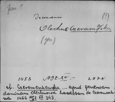Kartoteka Słownika staropolskich nazw osobowych; Czer - Czo-