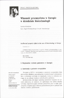 Intellectual property rights in the case of biotechnology in Europe