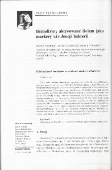 Hemolizyny aktywowane tiolem jako markery wirulencji bakterii