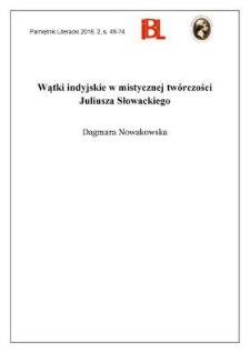 Wątki indyjskie w mistycznej twórczości Juliusza Słowackiego
