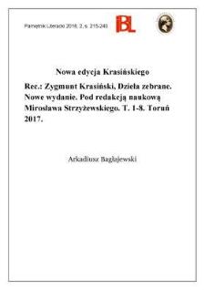 Nowa edycja Krasińskiego. Rec.: Zygmunt Krasiński, Dzieła zebrane. Nowe wydanie. Pod redakcją naukową Mirosława Strzyżewskiego. T. 1–8. Toruń 2017