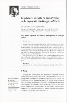 Regulatory wzrostu w somatycznej embriogenezie Medicago sativa Ł.