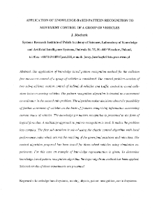 Application of Knowledge-Based Pattern Recognition to Movement Control of a Group of Vehicles