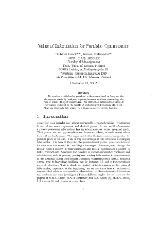 Value of information for portfolio optimization
