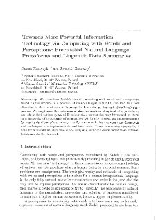 Towards more powerful information technology via computing with words and perceptions: precisiated natural language, protoforms and linguistic data summaries