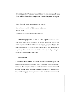 On linguistic summaries of time series using a fuzzy quantifier based aggregation via the sugeno integral