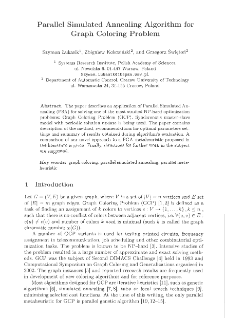 Parallel simulated annealing algorithm for graph coloring problem