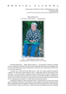 Maria Dąbrowska (7 VI 1943 – 29 XI 2019) — wspomnienie
