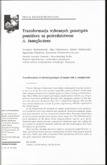 Transformation of selected genotypes of tomato with A. tumefaciens