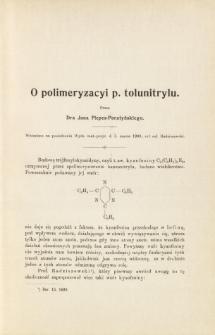 O polimeryzacyi p. tolunitrylu